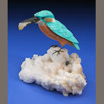 Gemstone Carving of a Kingfisher