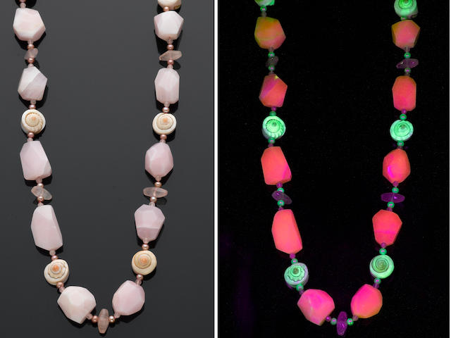 Fluorescent Manganoan Calcite and Shell Necklace