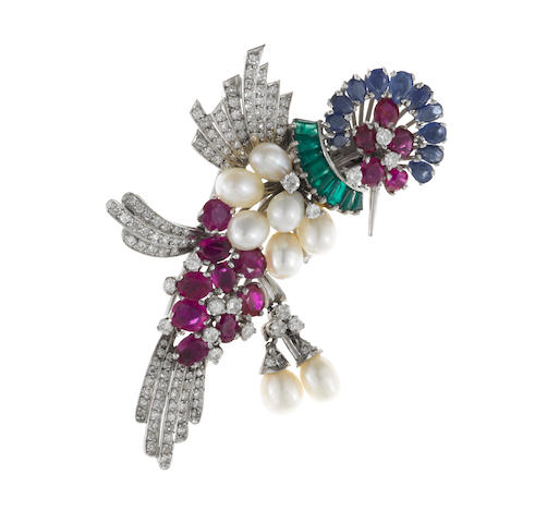 A cultured pearl, ruby, sapphire, emerald and diamond hummingbird brooch