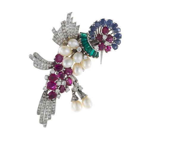 A cultured pearl, ruby, sapphire, emerald and diamond hummingbird brooch