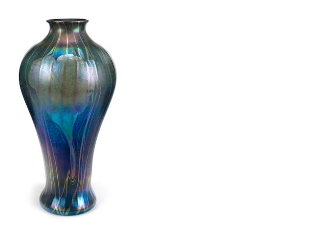 A large Tiffany Studios decorated blue favrile glass vase