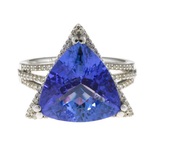 A tanzanite and diamond ring