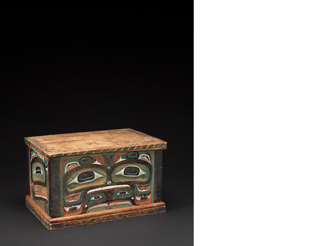 A Kwakiutl carved and painted lidded chest