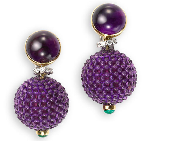 A pair of amethyst, diamond and emerald pendant earrings