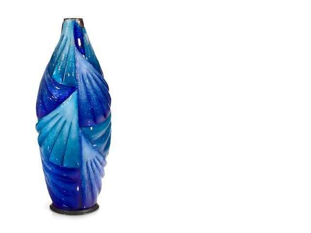 A Camille Fauré for Limoges enameled-metal vase