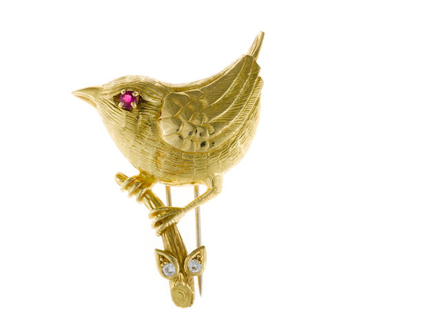 A ruby, diamond and eighteen karat gold bird brooch,  Cartier, Paris