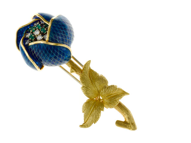 A plique-à-jour enamel, diamond and emerald en tremblant flower brooch, French