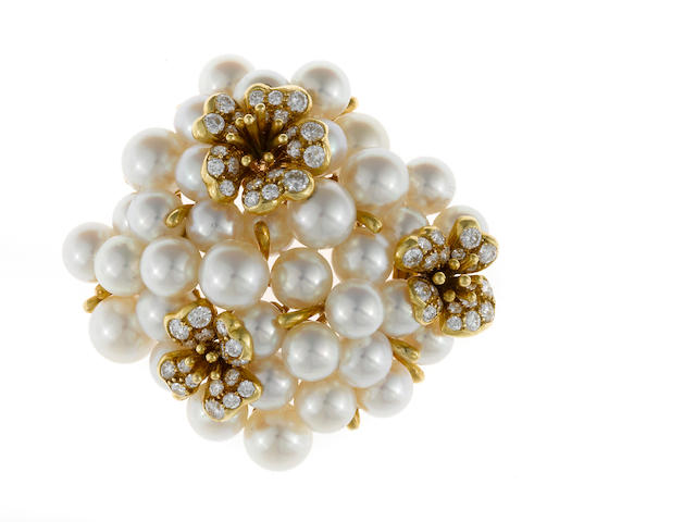 A cultured pearl and diamond flower motif brooch, Tiffany & Co.