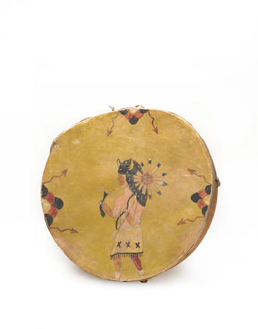 A Pueblo painted drum
