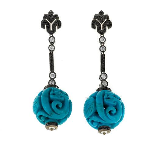 A pair of turquoise, black diamond and diamond pendant earrings
