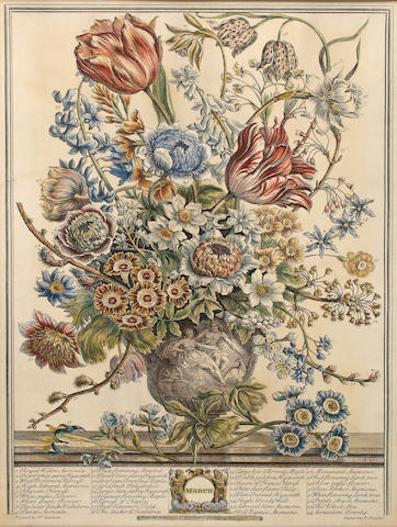 FURBER, ROBERT. c.1674-1756. Twelve Months of Flowers. Kensington: Robert Furber, 1730.