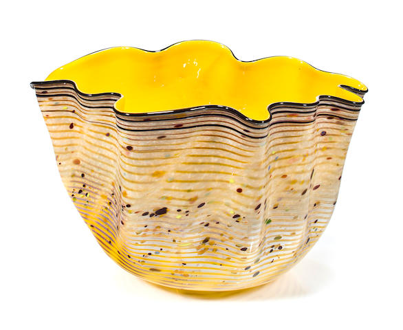 A Dale Chihuly Blown Glass Lemon Yellow Macchia, 1983