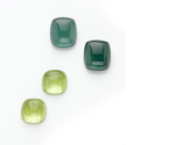 Two Pairs of Cabochon Gemstones