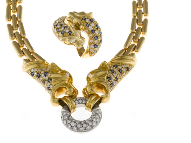 A diamond and sapphire panther motif necklace together with a matching ring