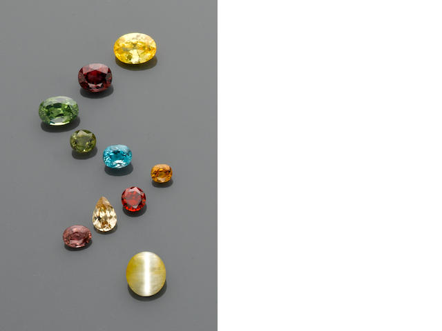Group of Zircons including a Cat's Eye