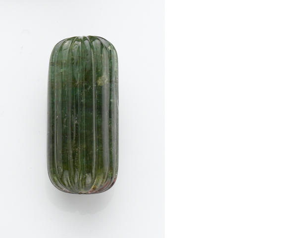Carved Green Tourmaline Bead
