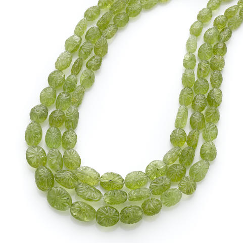 Two Strand Peridot Bead Necklace
