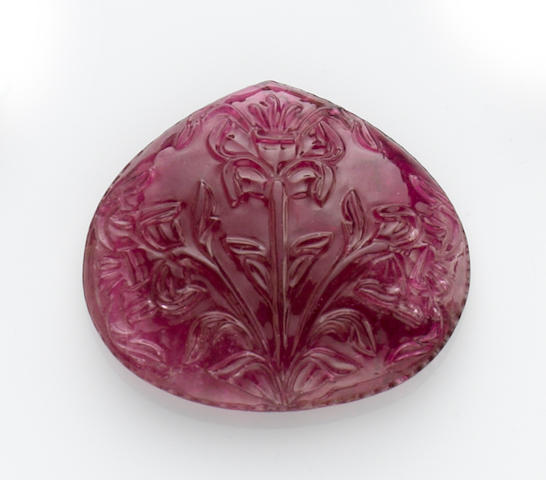Stunning Large Carved Rubellite Tourmaline