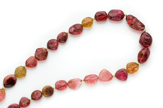 Rubellite Tourmaline Nugget Necklace