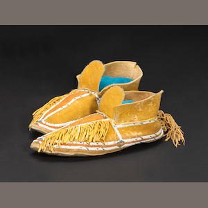 A pair of Southern Cheyenne beaded moccasins