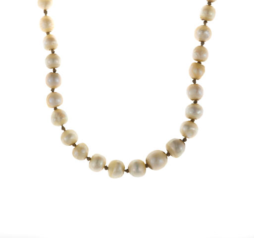 A natural pearl and diamond graduated necklace