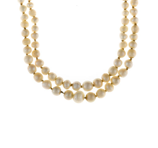 A natural pearl and diamond graduated double strand necklace