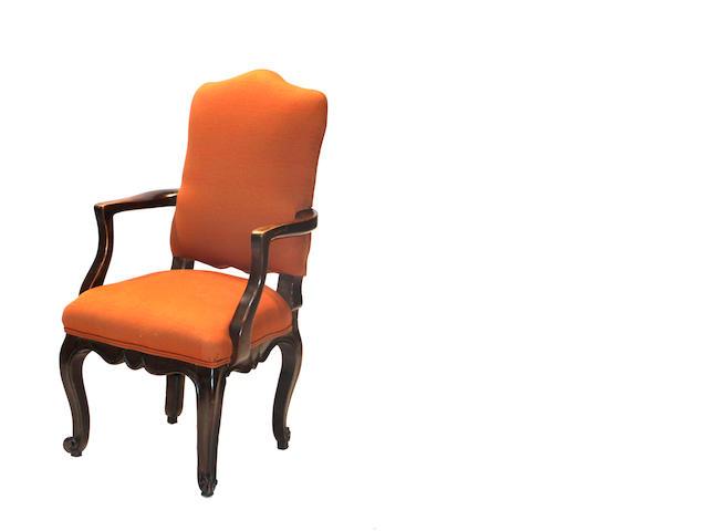 A Continental Rococo walnut armchair mid 18th century