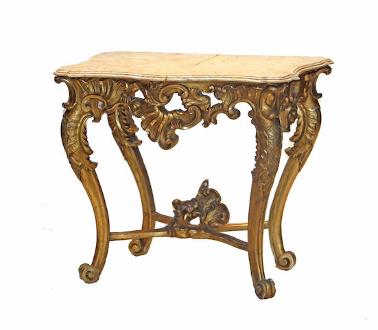 A Louis XV style giltwood console mid 19th century