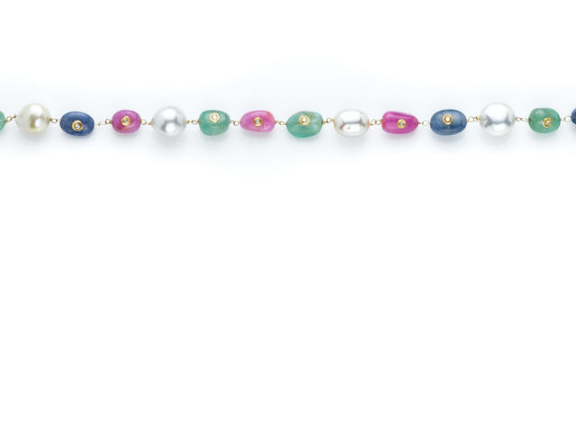 Sapphire, Ruby, Emerald and Cultured Pearl Necklace