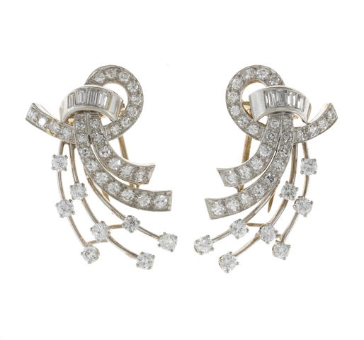 Two diamond clip brooches