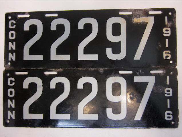 A  set of Connecticut license plates, 1916,