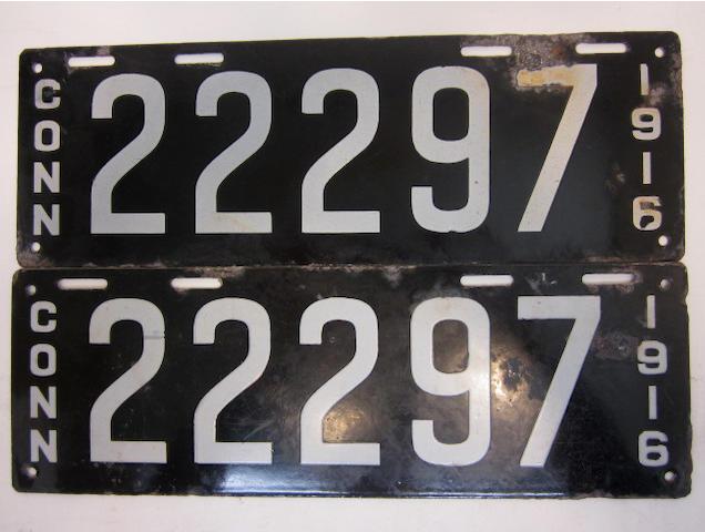 A  set of Connecticut license plates, 1916,