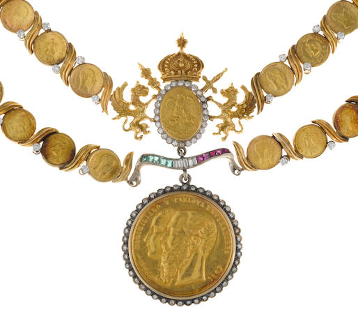 A diamond, ruby and emerald gold coin motif necklace