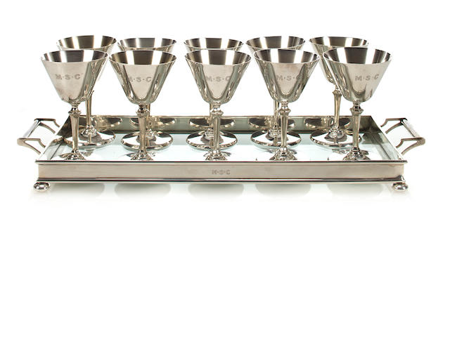 Tiffany tray & 10 silver cocktail cups