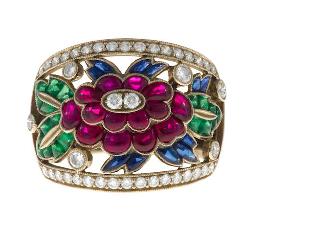 A ruby, sapphire, tsavorite garnet and diamond flower ring