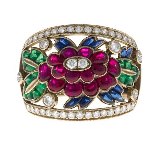 A ruby, sapphire, tsavorite garnet and diamond flower ring