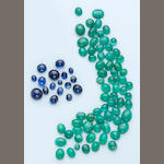 Group of Sapphire and Emerald Cabochons