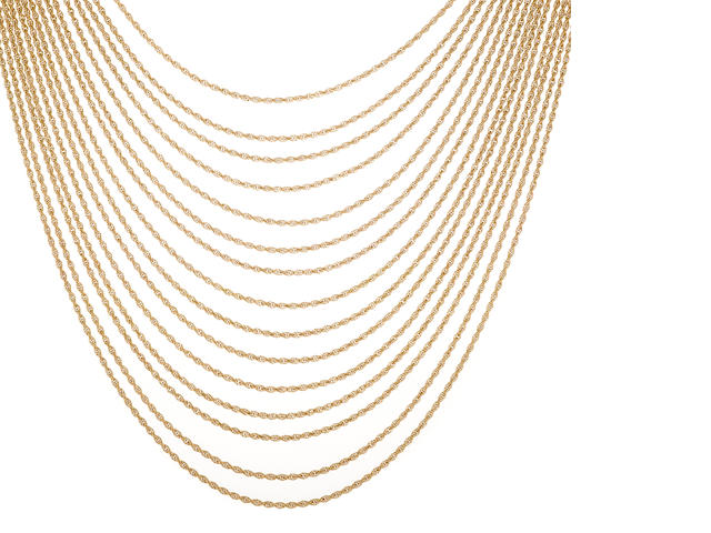 A fourteen karat gold multi-chain necklace