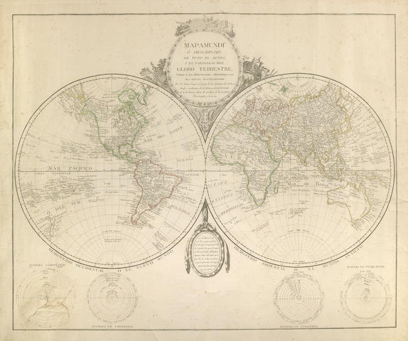 Lopez, Tomas Mapamundi; Globo Terrestre - 1760's; Engraved Map with Hansd Coloring; Repaired Tear; Framed