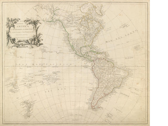 Lopez, Tomas. Mapa Generality De America - 1760; Engraved Map with Hand Coloring, Framed