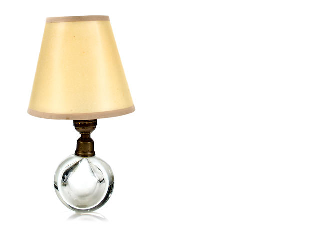 A Jacques Adnet and Baccarat glass and nickled-bronze adjustable table lamp             circa 1930