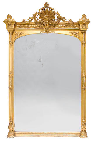 An imposing French carved giltwood and gesso mirror  late 19th century