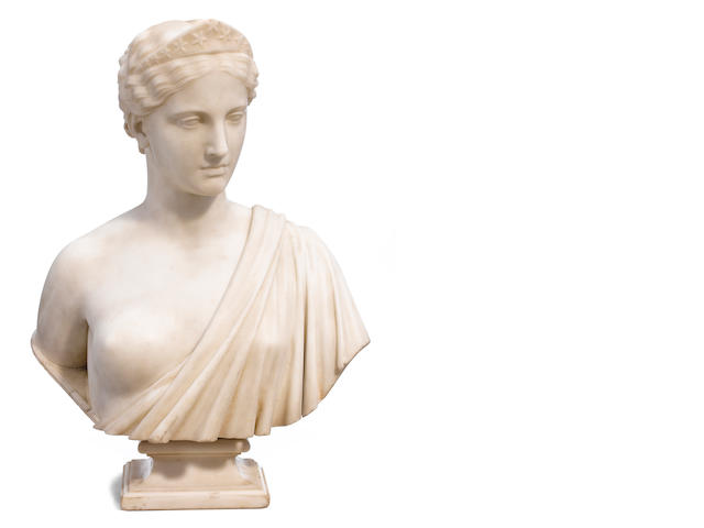 A carved marble bust: America <BR />Hiram Powers<BR />mid 19th century