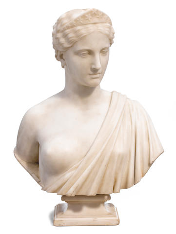 An important carved marble bust: America  Hiram Powers (American, 1805-1873) mid 19th century