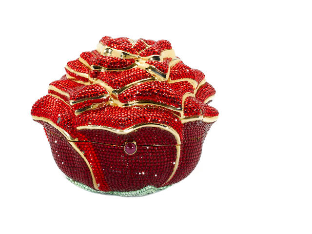 A red crystal rose minaudière, Judith Leiber