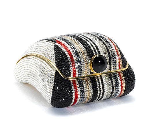 A multi-colored crystal stripe convex purse, Judith Leiber