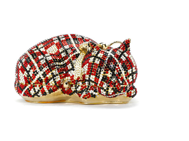 A red, black and silver crystal plaid sleeping cat minaudière with a bow, Judith Leiber
