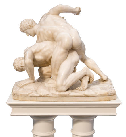 An Italian carved marble figural group: The Wrestlers  after the antique late 19th/early 20th century