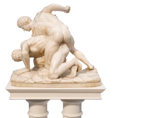 An Italian carved marble figural group: The Wrestlers <BR />After the Antique