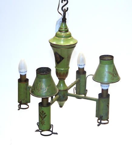 A Directoire tole peinte oil lamp chandelier, now electrified late 18th century